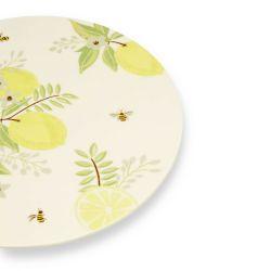 bandeja soporte para tartas cerámico con limones estampados de diseño