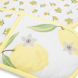 guando doble para horno de tela con limones amarillos de diseño