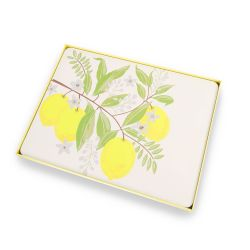 manteles indiividuales de corcho con limones amarillos de diseño