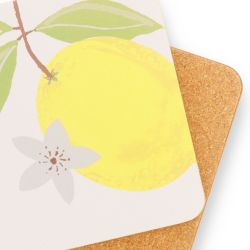 posavasos de corcho con limones amarillos de diseño