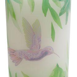 vela tipo columna estampada con diseño tropical de hojas y pájaros