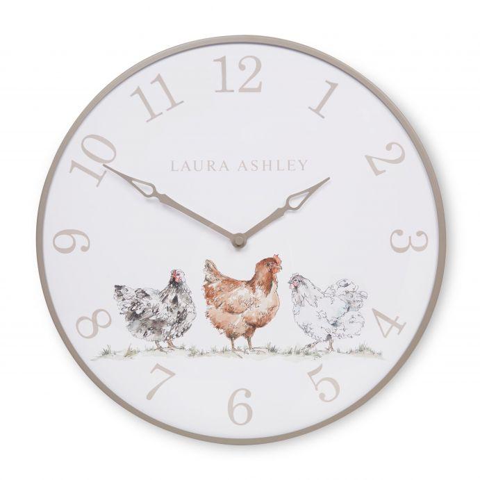 reloj de pared con dibujo de gallinas de diseño