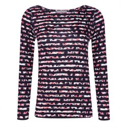camiseta azul marino de rayas y flores rosas de diseño muy cómoda