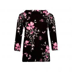 camiseta negra de flores con cuello bardot de diseño