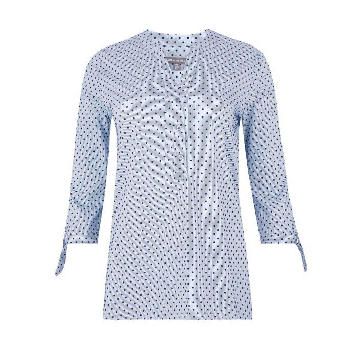 blusa flocada de rayas y topos azul y blanca de diseño