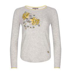 jersey gris bordado con flores amarillas de diseño