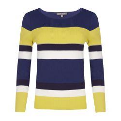 jersey de rayas azul marino y amarillo de diseño