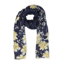 pañuelo azul marino con flores amarillas estampado de diseño