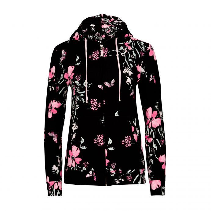 sudadera negra con flores rosas de diseño