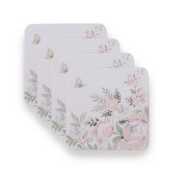 4 posavasos con diseño de flores en tonos rosas y tierras