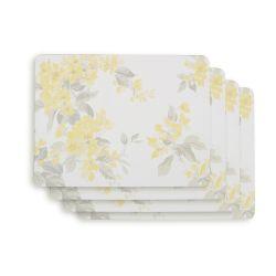 4 manteles individuales con diseño de flores amarillas