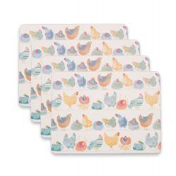 4 manteles individuales para mesa con diseño de gallinas de colores