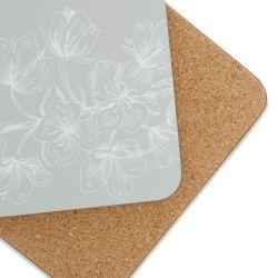 4 posavasos con diseño de flores en fondo gris