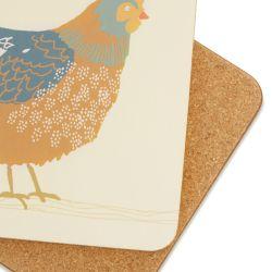 4 posavasos con diseño de gallinas de colores
