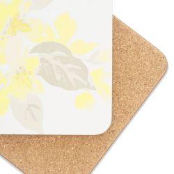 4 posavasos con diseño de flores amarillas