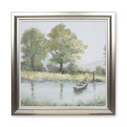 cuadro enmarcado con imagen de rio y barca amarrada de diseño