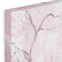 cuadro de pared en lienzo rosa con flores glicinias blancas de diseño