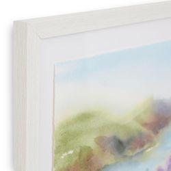 cuadro de paisaje de costa con flores en diseño de acuarela