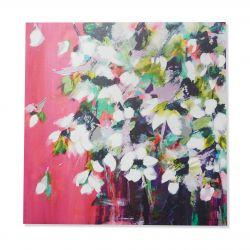 cuadro en lienzo de flores de magnolia con fondo rosa fuerte de diseño