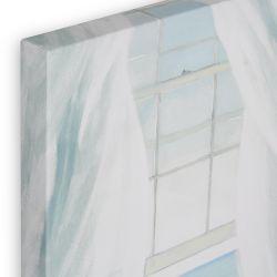 cuadro en lienzo con imagen relajante de silla bajo ventana abierta