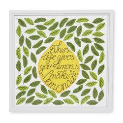 cuando la vida te da limones, haz limonada en cuadro enmarcado de diseño