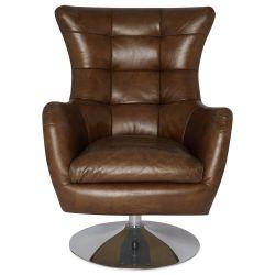 butaca de piel de diseño color marrón