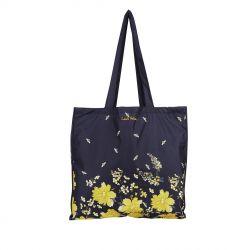 bolso plegable azul marino con estampado de flores y abejas de diseño