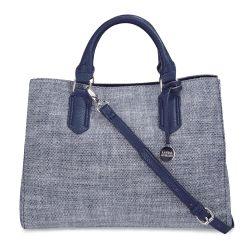 bolso de mano con asa azul de diseño