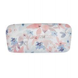 funda de gafas rígida con flores rosas y azules de diseño