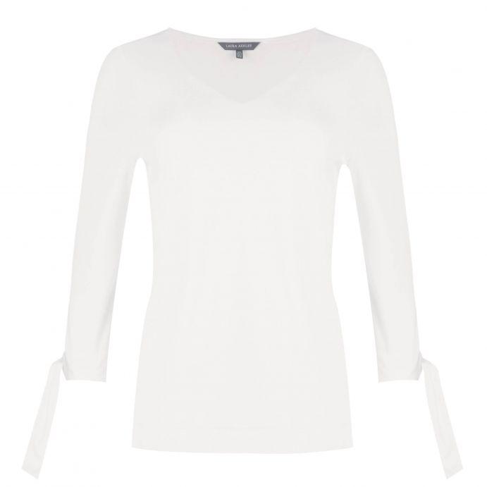 camiseta de algodón blanco con cuello en V y lazadas en mangas