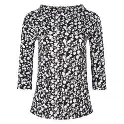 camiseta negra de flores blancas y precioso cuello bardot