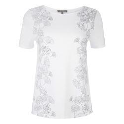 camiseta blanca estampado flores grises