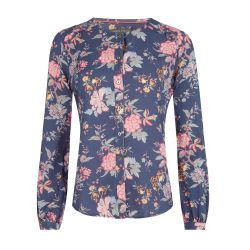 blusa azul estampada con flores muy ligera