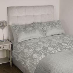 funda nórdica gris plata de diseño adamascado jacquard francés para camas de revista