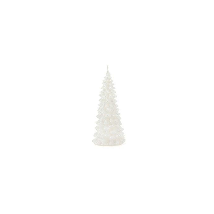 vela con diseño de árbol de navidad blanco