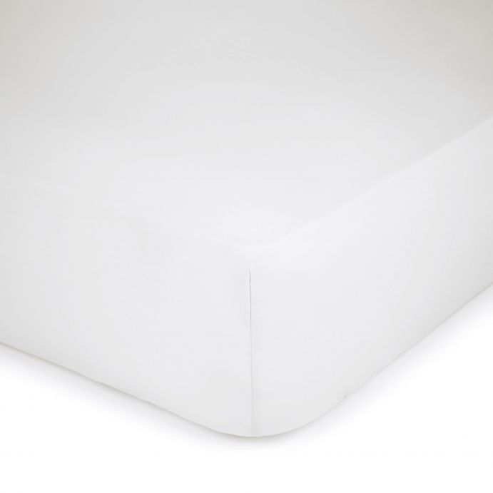 sábana bajera ajustable de algodón de máxima calidad color blanco