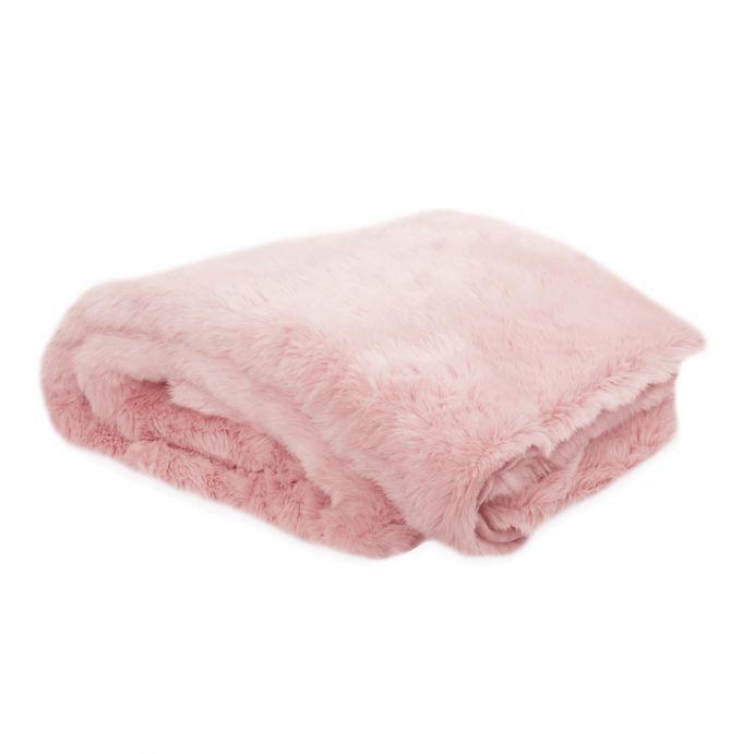 colcha manta tacto suave peluche en color rosa de diseño