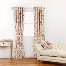 tela para cortinas y estores lino estampada con pájaros en tonos rojo arándano y verde