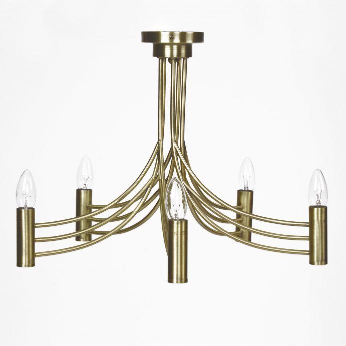 lámpara de techo bronce de diseño con 5 brazos