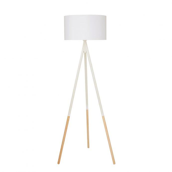 lámpara de suelo de madera tipo trípode crema de diseño