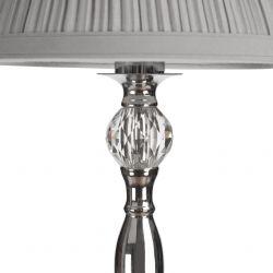 lámpara completa de sobremesa de estilo clásico, acabado cromo, con pantalla plisada