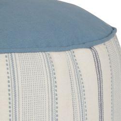 cojín reposapiés puf de rayas azul mar oscuro de diseño