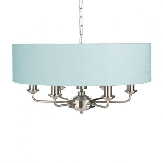 lámpara de techo de diseño con pantalla azul