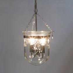 lámpara de techo de cristal grabado con hojas de diseño