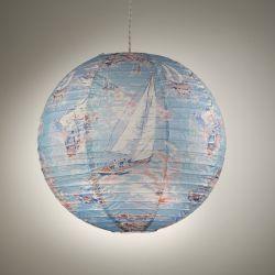 lámpara de papel tipo globo azul con barcos de vela de diseño