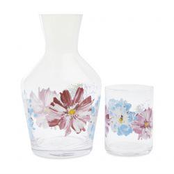 botella de cristal y vaso con flores estampadas de diseño