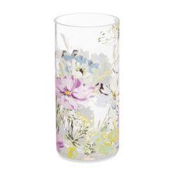 jarrón de cristal estampado con flores de colores de diseño
