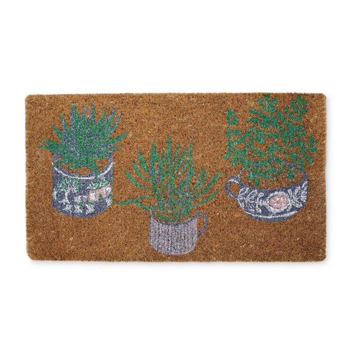 felpudo de fibra de coco estampado con macetas de plantas de diseño