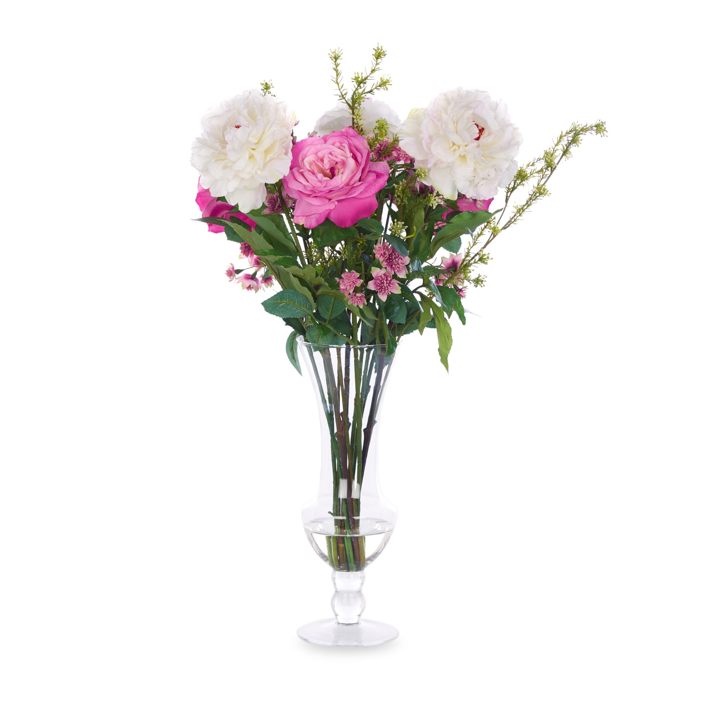 Arreglo Floral Pink Peonies Foliage En Jarrón Laura Ashley Decoración