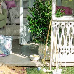 maceta de tela estampada con plantas suculentas de diseño